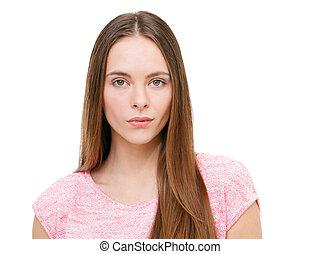 piękny, młody, wzór, portret, odizolowany, na, white.