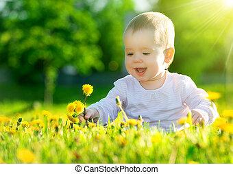 piękny, mały, łąka, natura, posiedzenie, park, żółty, mniszki lekarskie, zielony, dziewczyna niemowlęcia, kwiaty, szczęśliwy