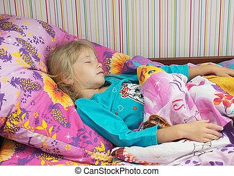 piękny, mały, bed., dziewczyna