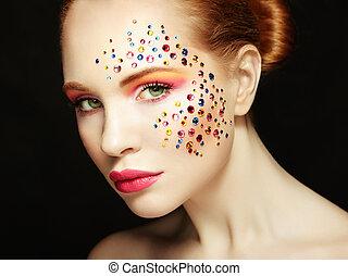 piękny, makijaż, kobieta, piękno, portret
