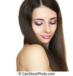 piękny, makijaż, kobieta, z, kudły, odizolowany, na białym, tło