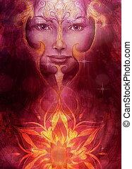piękny, malarstwo, bogini, kobieta, z, dekoracyjny, mandala, i, kolor, abstrakcyjny, tło, i, pustynia, crackle..