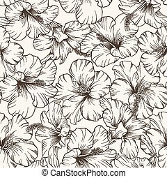 piękny, malwa, pattern.