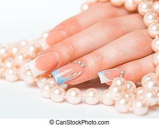 piękny, manicure, francuski, samicze ręki