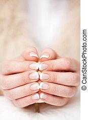 piękny, manicured, fingernails