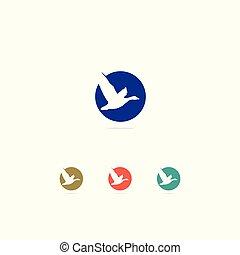 piękny, miłość, barwny, pokój, symbol., pelikan, kaczka, logo, icon., ptak, design.