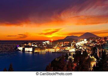 piękny, miasto, stary, dubrovnik, na, historyczny, zachód słońca, chorwacja, prospekt