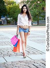 piękny, mnóstwo, kobieta shopping