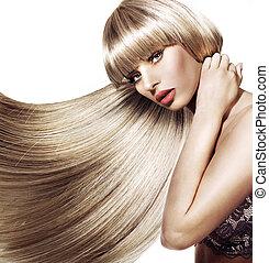piękny, modny, fryzura, kobieta