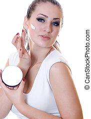 piękny, moisturizer, kobieta, przykładając krem