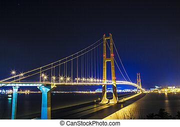 piękny, most, w, południowa korea, sun-sin, most