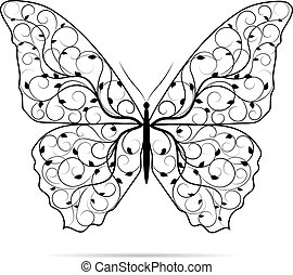 piękny, motyl, z, kwiatowy, pattern.