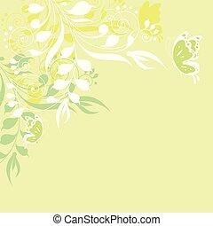 piękny, motyle, kwiaty, zielony