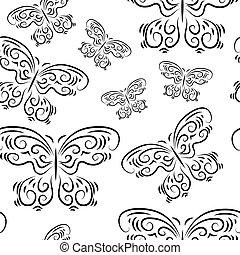 piękny, motyle, seamless, tło