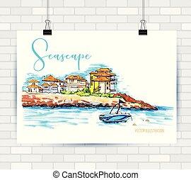piękny, motyw morski, statek, domy