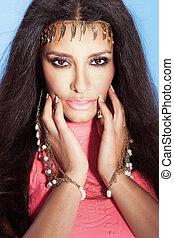 piękny, multi, brunetka, ethnical, portret, woman.
