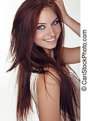 piękny, naście, piękno, brązowy, zdrowy, odizolowany, włosy, dziewczyna, tło, biały, uśmiechnięty szczęśliwy