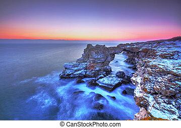 piękny, na, wschód słońca, morze