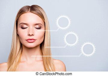 piękny, nagi, twarzowy, highlighted, twarz, czysty, zamknięcie, jej, elegancki, ideał, flawless skóra, szary, portret, do góry, ona, pasy, tło, odizolowany, ustalać, ilustracja, kobieta, czysty, strony