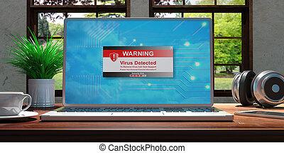 piękny, natura, drewniany, ekran, detected, ilustracja, zamazany, tło., wirus, biurko, home., laptop, 3d