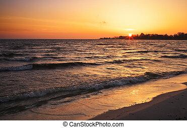 piękny, natura, sky., zachód słońca, ognisty, skład, krajobraz