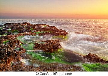 piękny, nature., seascape., skład, sunset.