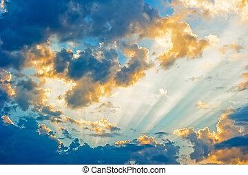 piękny, niebieski, krajobraz