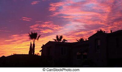 piękny, niebo, na, zachód słońca