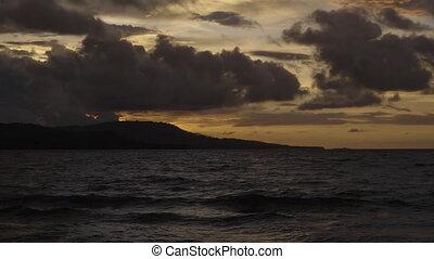 piękny, niebo, ocean
