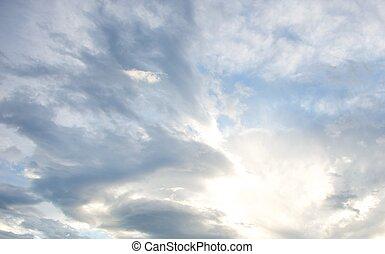 piękny, niebo, pochmurny