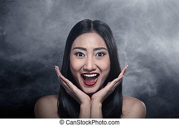 piękny, niespodzianka, kobieta, asian
