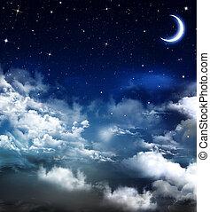 piękny, nightly, tło, niebo