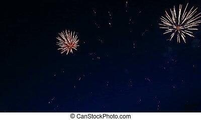 piękny, noc, fajerwerki, niebo, pokaz