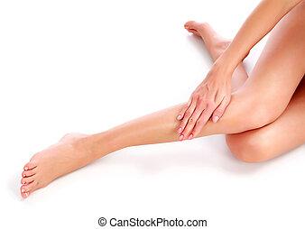 piękny, nogi, biały, kobieta, tło