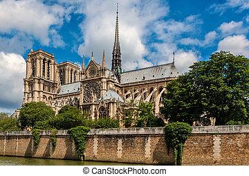 piękny, notre-paniusia, niebo, paris., pod, katedra