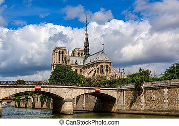 piękny, notre-paniusia, sky., paryż, od, pod, katedra