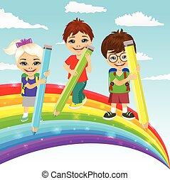 piękny, ołówki, mały, barwny, tęcza, kolor, trzy, razem, rysunek, dzieci