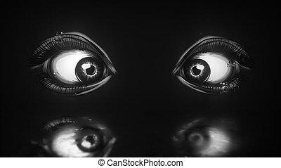 piękny, ożywienie, eyes., kobieta, video
