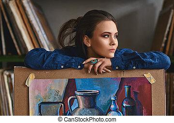 piękny, obraz, życie, samica, artysta, myślenie, młody, idea, projekt, gładki, dziewczyna, dzierżawa, dzieło, nowy, opisywanie, wciąż, albo, malarz