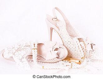 piękny, obuwie, wesele, koronka