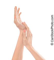 piękny, odizolowany, ręka, tło., samica, biały