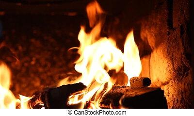 piękny, ogień, kominek