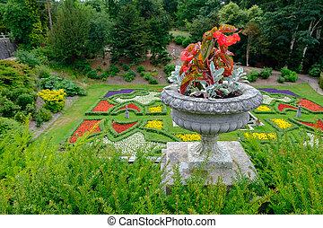 piękny, ogrody, na, lyme, hala, w, daszek okręg, cheshire, uk