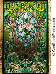 piękny, okno, plamione-szkło