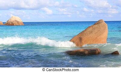 piękny, otoczaki, lazio., indianin, granit, ocean, plaża, anse