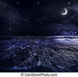 piękny, otwarty, niebo, morze, noc