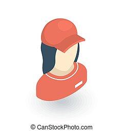 piękny, płaski, isometric, kobieta, jednolity, wektor, avatar, icon., czerwony, 3d