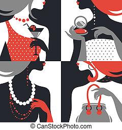 piękny, płaski, kobieta, silhouettes., wystawiany zamiar, fason