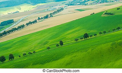 piękny, pagórek, krajobraz