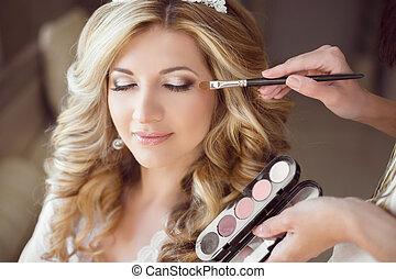 piękny, panna młoda, dziewczyna, z, ślub, makijaż, i,...